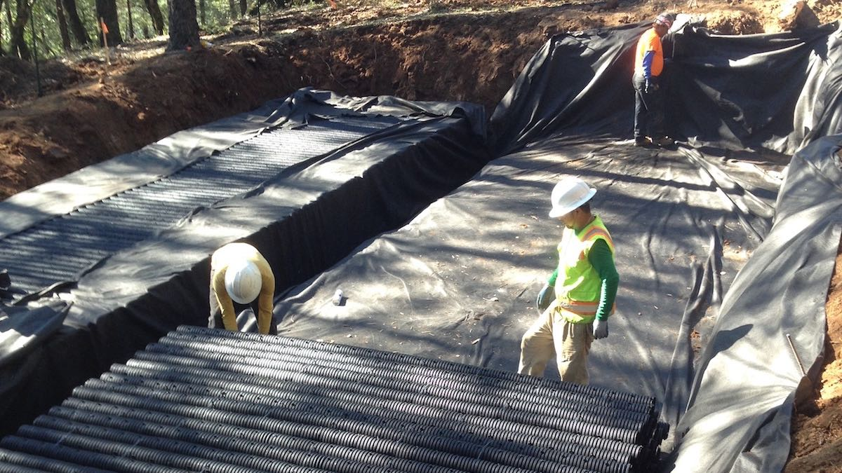 Residential RainSpace stormwater management chamber installation, Deer Park, CA